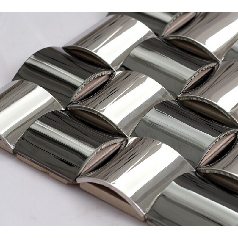 Kitchen Wall Accessories Stainless Steel: Glossy Stainless Steel Mosaic Tile Interlocking Arched
