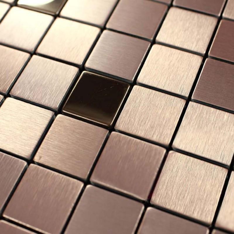 Metallic Mosaic Tile Cinnamon Square Brushed Aluminum Panel