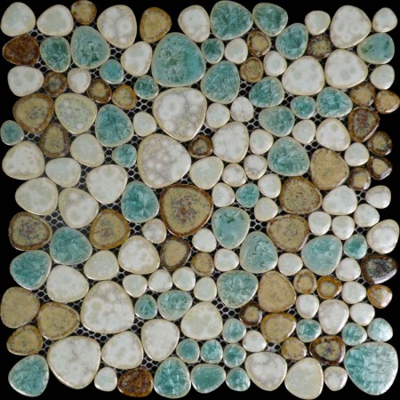 Porcelain Tile Pebbles Random Bricks Glazed Ceramic Mosaic Pebble Tiles Bathroom Backsplash BCP009