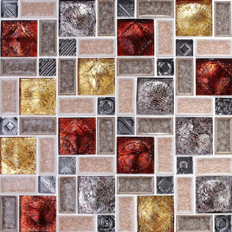 Wholesale Porcelain Glass Tile Wall Backsplash Multi Colored Crystal Crack Pattern Mosaic Tiles