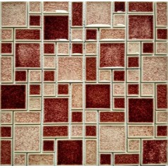 Crackle Glass Mosaic Wall Tile Glossy Mosaic Red & Peach Cheap Backsplash Tiles