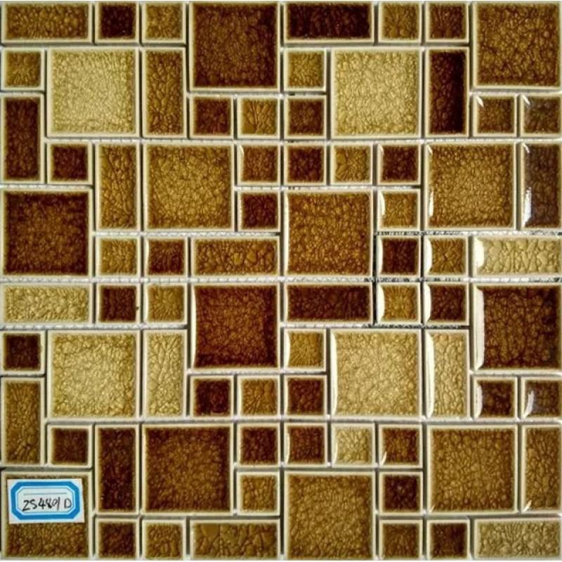 Bathroom Tiles Mosaic Border: Crackle Glass Mosaic Wall Tile