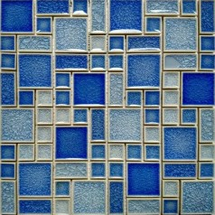 Crackle Glass Mosaic Wall Blue Pool Tile Kitchen Backsplash Random Bath Tiles