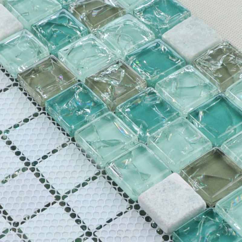 Sample Cream Crackle Glass Mosaic Tile Kitchen Backsplash: Wholesale Cream Stone With Crackle Crystal Mosaic Tile