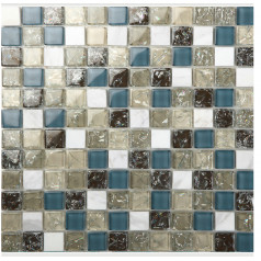 Blue Glass Mosaic Crackle Crystal Glossy Tile Backsplash Cream White Stone Wall Bathroom Tiles