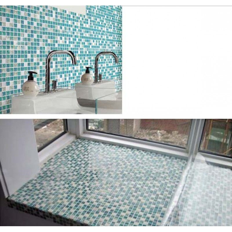 Sample Green Brown Crackle Glass Subway Mosaic Tile: Cream Stone Crackle Crystal Tile Backsplash Blue Glass
