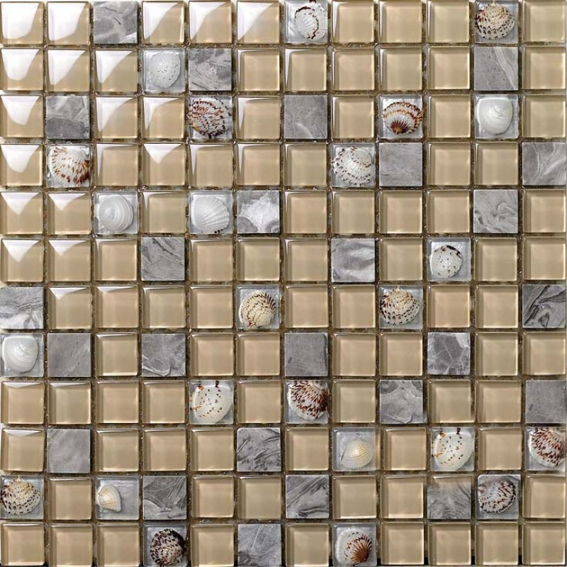 Natural Stone Crystal Shell Mosaic Tile Sheet Square Design Backsplash Wall Stickers Bedroom Kitchen