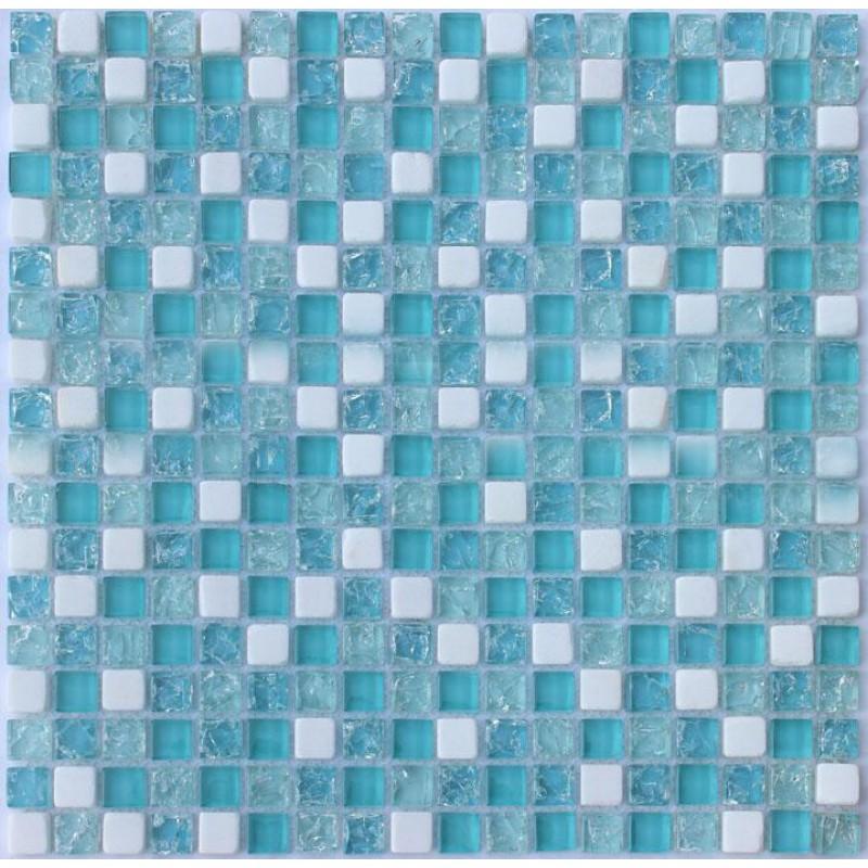 Cream stone crackle crystal tile backsplash blue glass for Blue glass tiles for backsplash