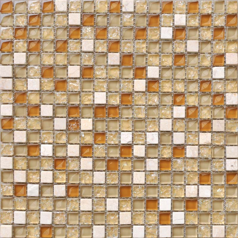 Cream Stone Mosaic Tile Sheet Square Brown Crystal Backsplash Le Gl Wall Sticker