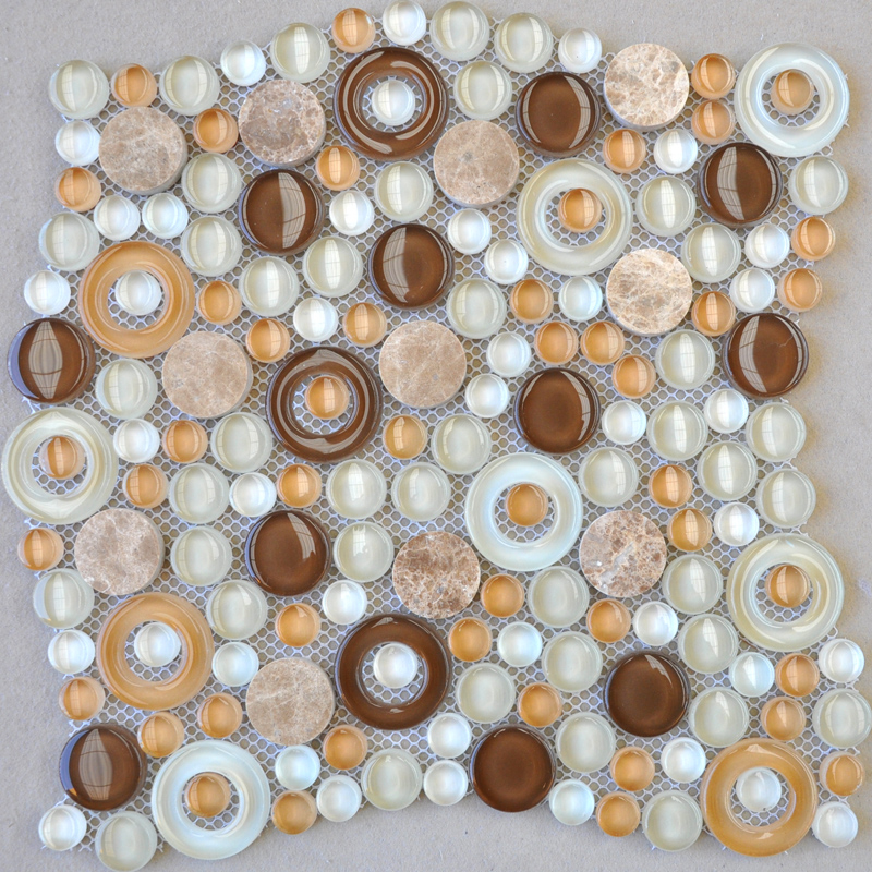 Penny Round Tile Backsplash: Penny Round Stone And Glass Mosaic Tile Sheets Marble