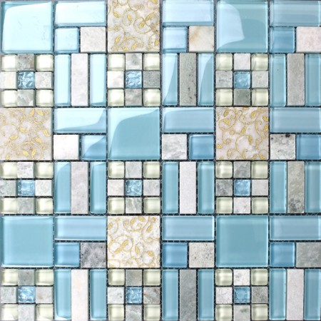 Backsplash Tiles Kitchen Blue Glass & Stone Blend Mosaic Natural Marble Bathroom Shower Wall Tiles 8837
