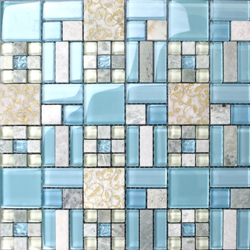Backsplash tiles kitchen blue glass stone blend mosaic natural marble bathroom shower wall - Mosaic kitchen ...