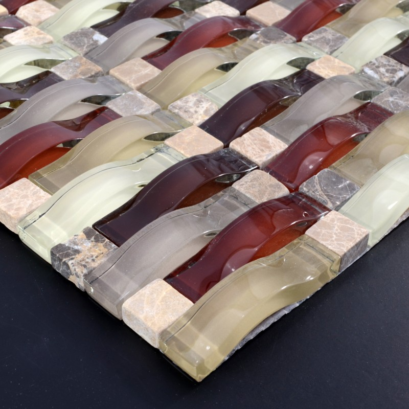 Sample Dark Red Subway Glass And Stone Mosaic Tile For: Crystal Mosaic Tile Arched Kitchen Backsplash Bridge