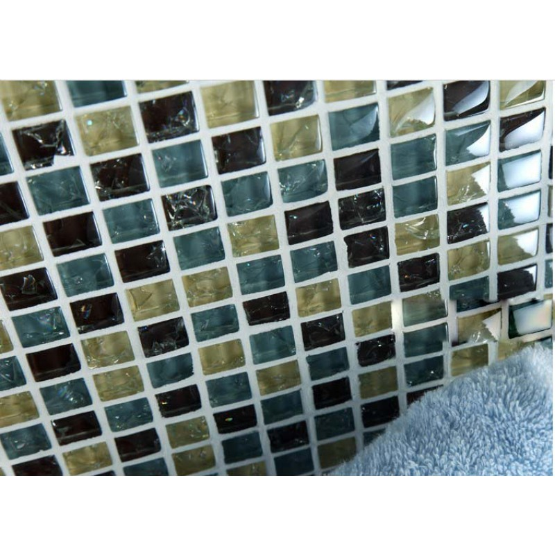 Yellow brown crackle glass mosaic tiffany blue crystal for Yellow mosaic bathroom tiles