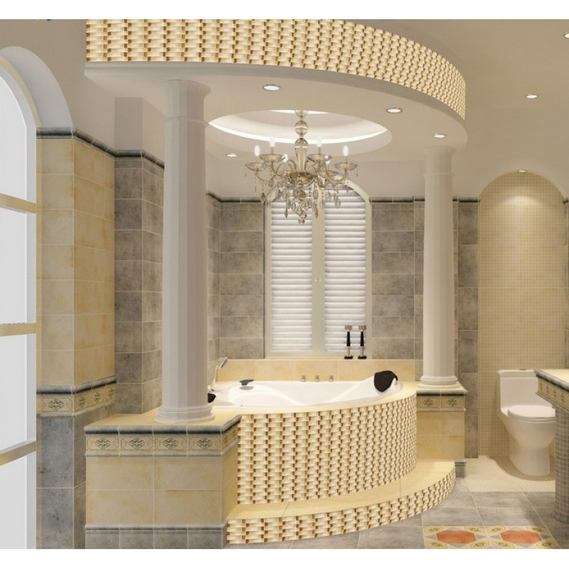 Hand painted glass tile gold crystal mosaic backsplash arched pattern for Glass mosaic tile backsplash bathroom