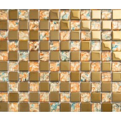 gold metal coating mosaic tile hand paint tile wall backsplashes kitchen wall tile bathroom KLGT371