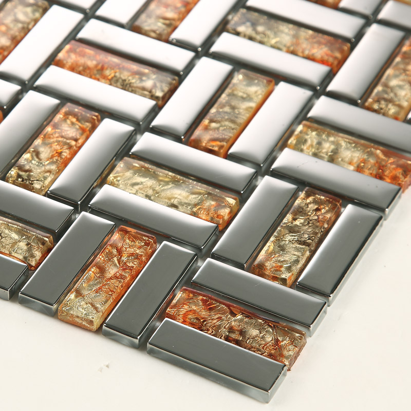 Wholesale Strip Glass Mosaic Wall Tile Gold Silver Mixed Crystal ...