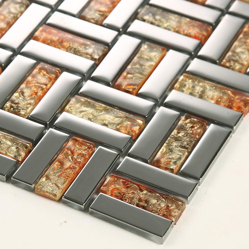 gold silver metal coating tile backsplash - d159 - Wholesale Strip Glass Mosaic Wall Tile Gold Silver Mixed Crystal