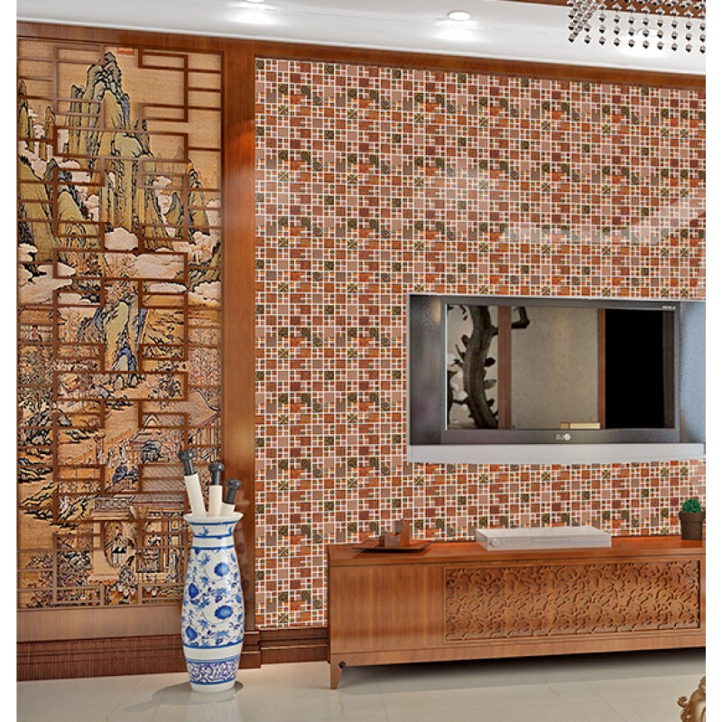 Brown Glass Mosaic Tile Porcelain Flower Pattern Wall