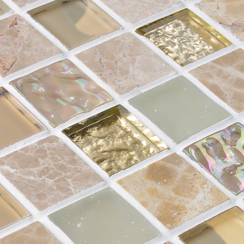 Crystal Glass Mirror Tile Backsplash Stone & Glass Blend Mosaic Wall Tiles