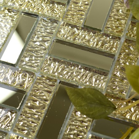 Glossy Glass Mirror Tile Kitchen Backsplash Random Wave Patterns Gold Mosaic Bathroom Tiles MGT135