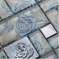 Crystal Glass Mosaic Tile Squares Blue Rose Pattern Stainless Steel Backsplash Metallic Tiles Wall