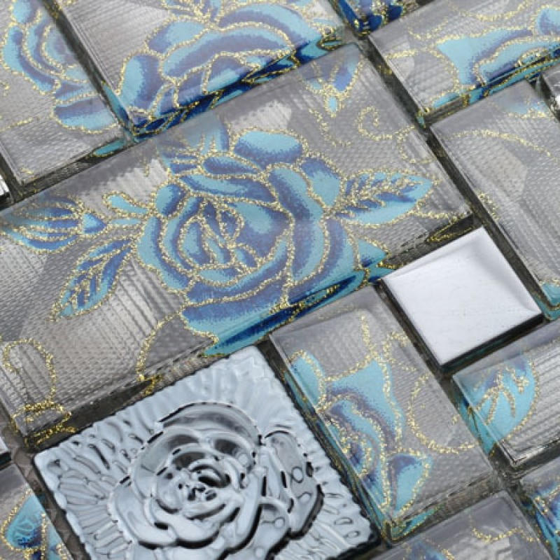 Glass Mosaic Tile Squares Blue Rose Pattern Stainless ...