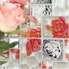Crystal Glass Mosaic Tile Squares Red Rose Pattern Stainless Steel Backsplash Embossed Metallic Tiles Wall