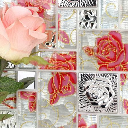 Crystal Glass Mosaic Tile Squares Red Rose Pattern Stainless Steel Backsplash Embossed Metallic Tiles Wall