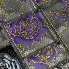 Crystal Glass Mosaic Tiles with Flower Square Purple Rose Pattern Stainless Steel Metal Tile Backsplash