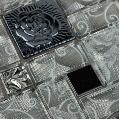Crystal Glass Mosaic Tile with Flower Square Gray Rose Patterns Stainless Steel Backsplash Metal Tiles
