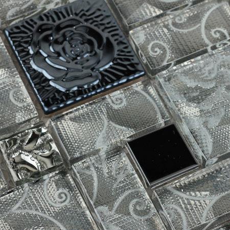 Crystal Glass Mosaic Tile with Flower Square Gray Rose Patterns Stainless Steel Backsplash Metal Tiles
