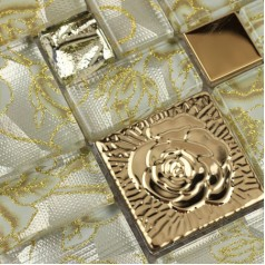 Crystal Glass Mosaic Tiles with Flower Square Yellow Rose Pattern Stainless Steel Metal Tile Backsplash
