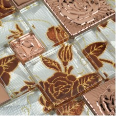 Crystal Glass Mosaic Tile with Flower Square Cinnamon Rose Pattern Stainless Steel Metal Blend Mosaics