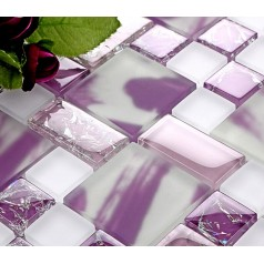 Backsplash Tile Purple Glass Mosaic Tiles Creckle Glass Tile Magic Patterns Kitchen Wall Stickers MH01