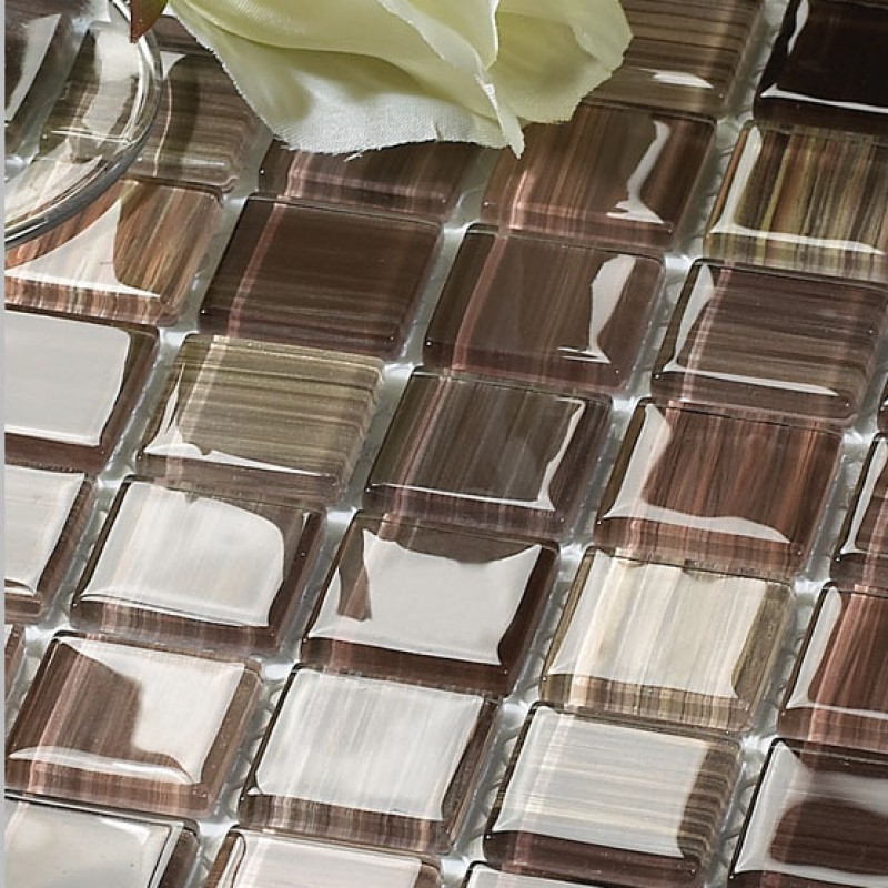 Wholesale Crystal Glass Tile Backsplash Kitchen Ideas Hand Painted Brown Mosaic Wall Tiles