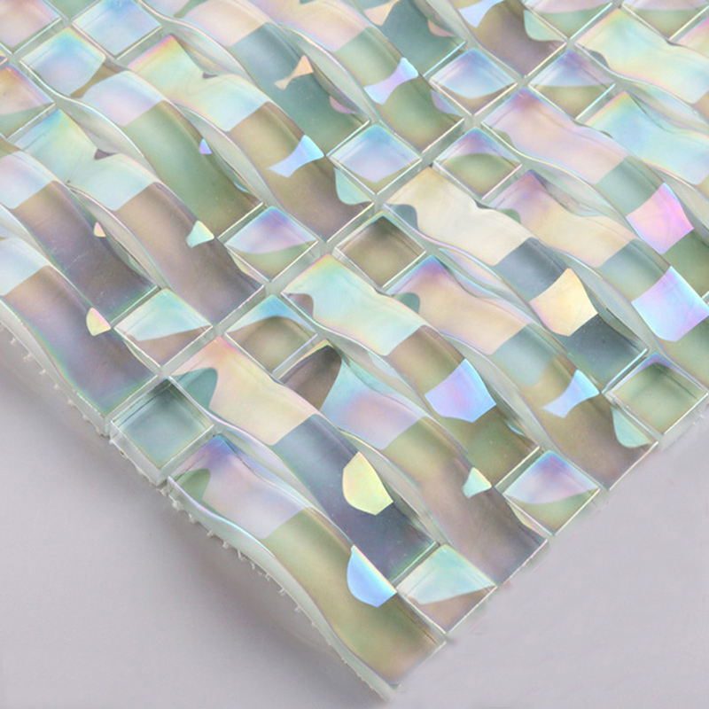 glass mosaic tile interlocking arched crystal glass tile