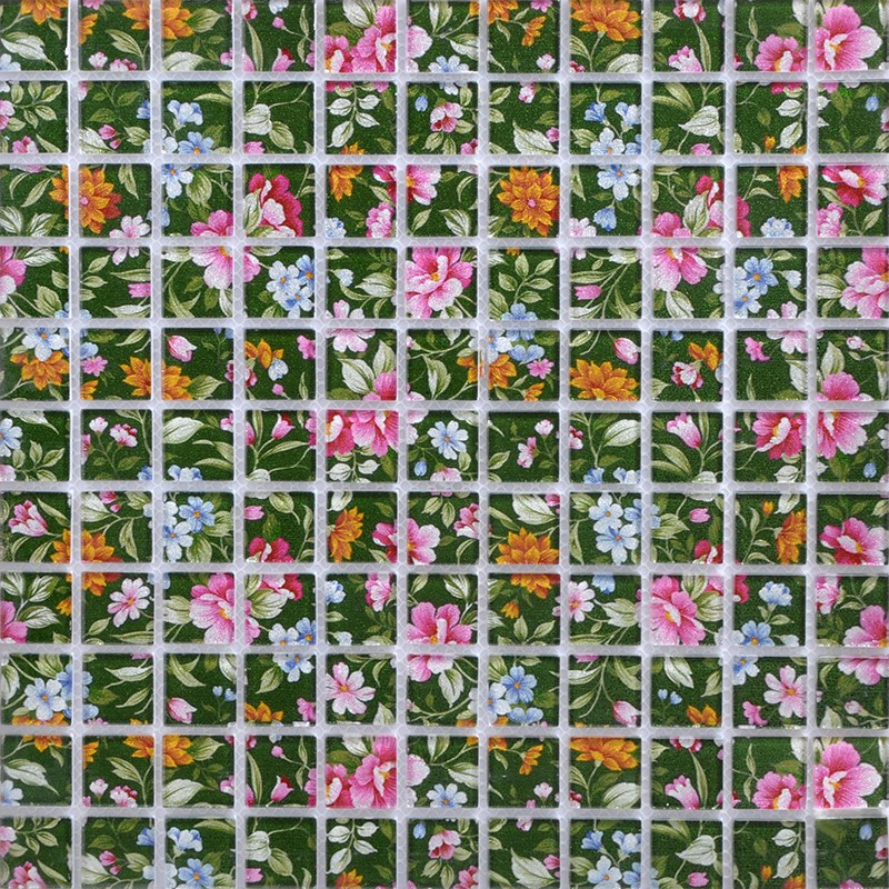 Puzzle Mosaic Wall Tiles For Backsplash Green White Crystal Glass Tile Flower Pattern Design