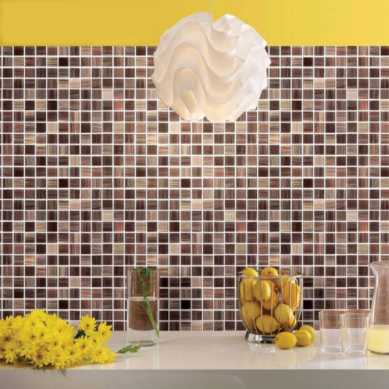 ... Crystal Glass Tile Backsplash Cheap Kitchen Ideas Hand Painted Brown  Mosaic Wall Tiles Bathroom Stickers ...