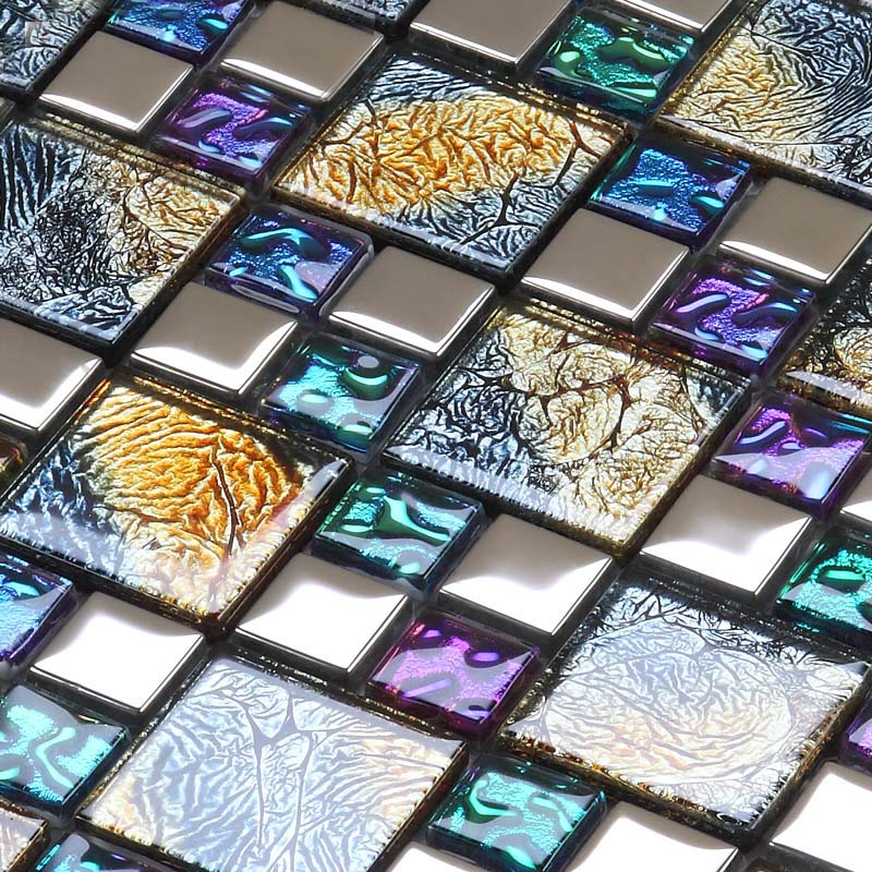 Iridescent mosaic tile plated crystal glass backsplash Mosaic kitchen wall tiles ideas