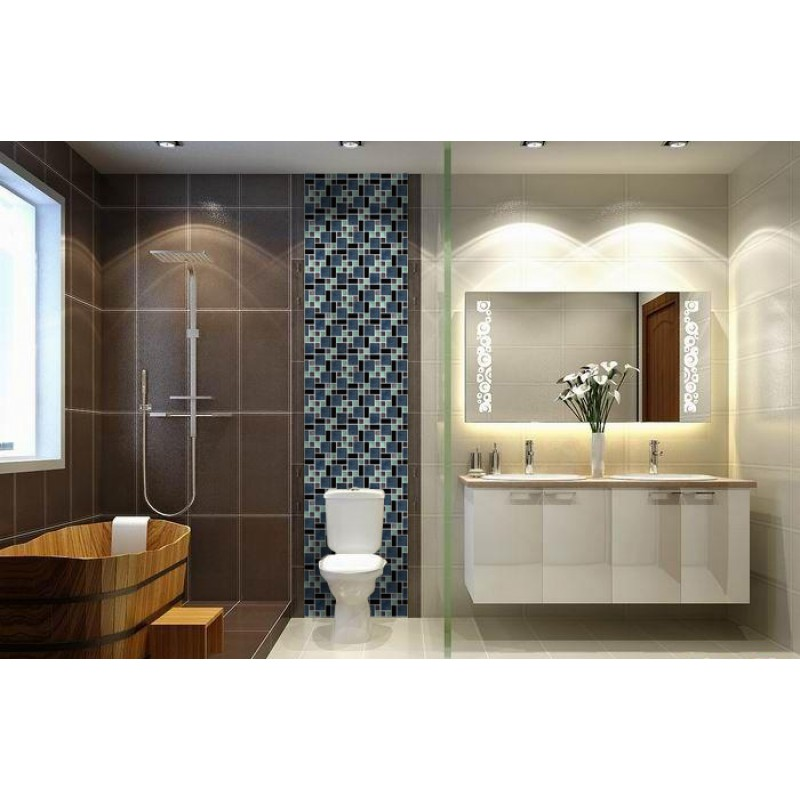 Mosaic Bathroom Tile Ideas: Crystal Glass Tile Backsplash Black Stainless Steel With