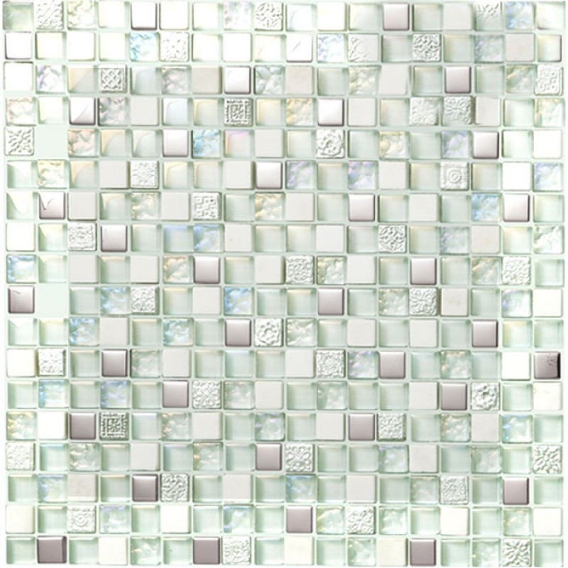 Gl And Stone Mosaic Silver Tiles White Wall Tile Iridescent Mosaics Hm0007