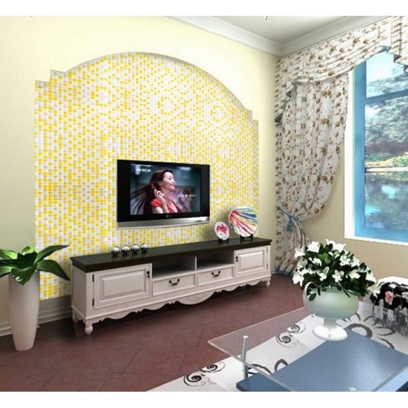 ... Yellow And White Glass Mosaic Glossy Tile Backsplash Wall Decor 3/5