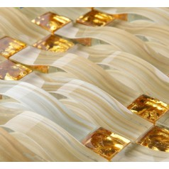 Hand Painted Glass Tile Gold Crystal Mosaic Backsplash Arched Pattern Bathroom Wall Tiles