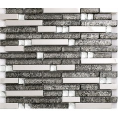 grey glass interlocking mosaic tile silver stainless steel kitchen backsplash bathroom shower wall backsplashes KL1650