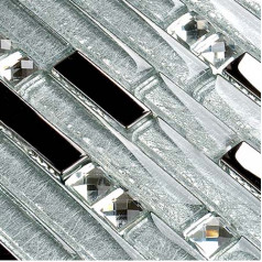 Silver Metallic Glass Backsplash Tile Mixed Rhinestone Mosaic for Kitchen, Bathroom and Shower Walls