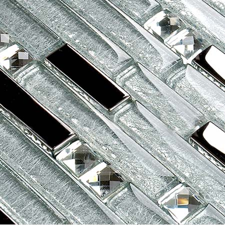 Metal Diamond Glass Mosaic Wall Silver Stainless Steel Backsplash Glossy Clear Crystal Tile GSD001