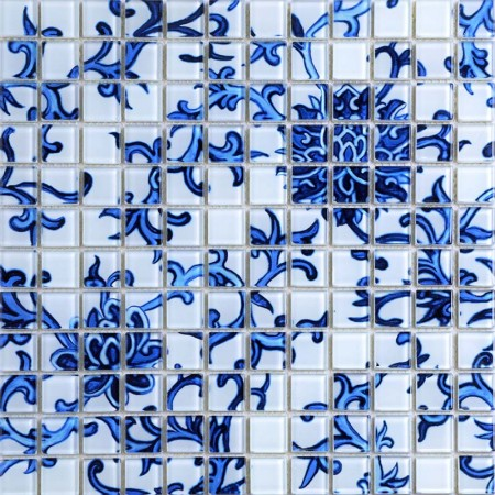 Crystal Glass Tile Blue and White Puzzle Mosaic Tile Crackle Crystal Backsplash Murals Kitchen Mosaic Collages Wall Tiles SM111