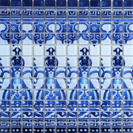 Crystal Glass Tile Blue and White Puzzle Mosaic Tile Crackle Crystal Backsplash Murals Kitchen Mosaic Collages Wall Tiles SM112