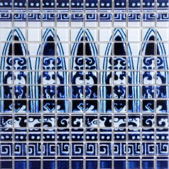 Crystal Glass Tile Blue  and White Puzzle Mosaic Tile Crackle Crystal Backsplash Collages Kitchen Mosaic Murals Wall Tiles SM113